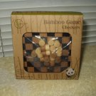 "bamboo travel game checkers approx 4.9"" square x .45"" thick 6+ years age"