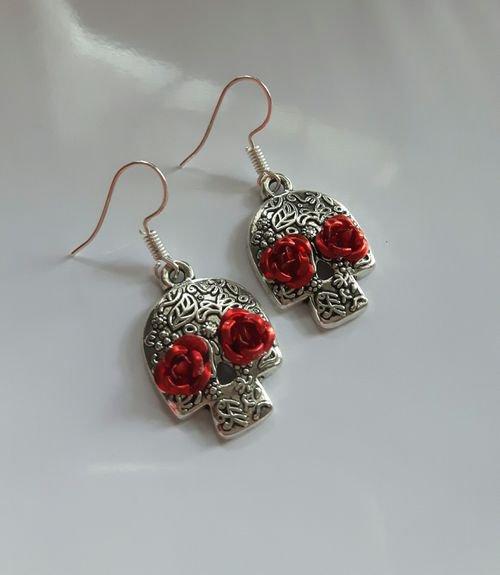 Day Of The Dead Skull Earrings gothic kitsch