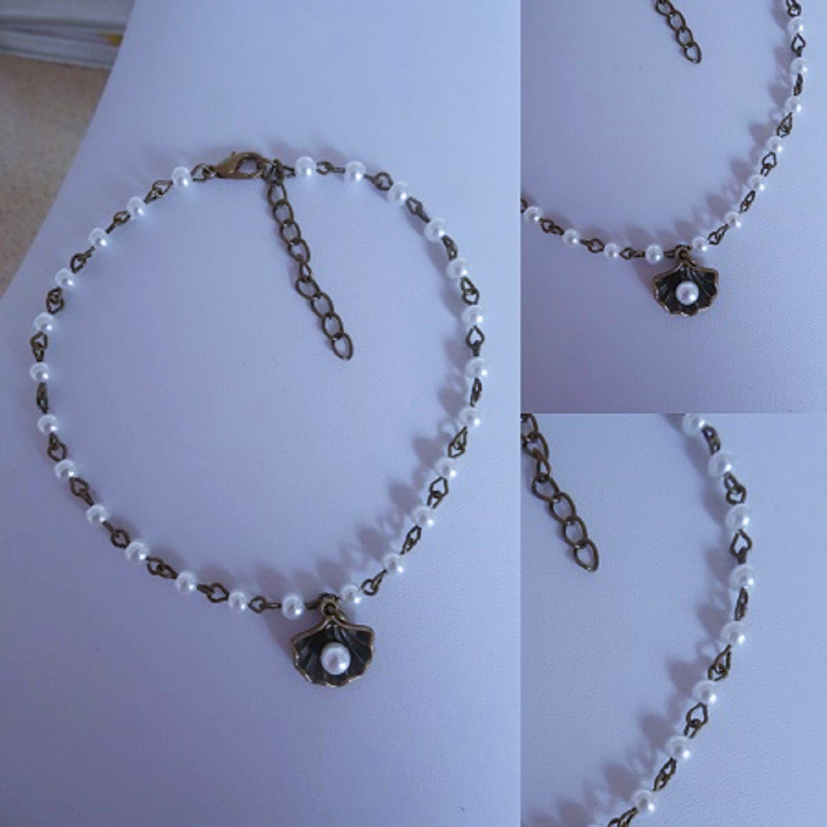 glass PEARL bead ANKLE chain BRONZE glass OYSTER SHELL charm white