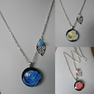 "FLOWER cabonchon PENDANT NECKLACE 17"" SILVER PLATED blue red pink white ROSE"