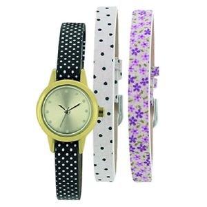 Portobello Road Ladies Watch floral design 3 straps INTERCHANGEABLE BOXED
