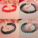 "Glass bead AB  BRACELET 7"" TEAL RED BLUE BLACK strand  CRYSTAL BEADED"