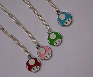 MUSHROOM pendant NECKLACE retro GAMER  red green silver chain UNISEX charm