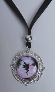 "Fairy PENDANT ribbon necklace BLACK glass SILVER PLATED angel 18"" satin kitsch"