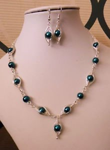 "PEARL Beaded necklace set EARRINGS wire wrapped TEAL glass 16"" SILVER PLATED"