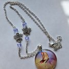 BUTTERFLY necklace PENDANT glass round 30mm silver plated BEAD CHAIN