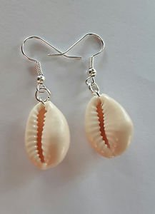 COWRY SHELL earrings natural silver plated hooks 25mm SEA shell