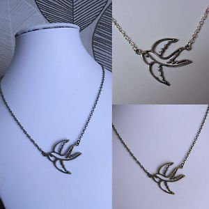 Bird charm PENDANT necklace STEAMPUNK Bronze silver SWALLOW