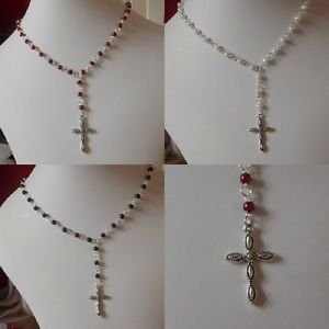 pearl NECKLACE with CROSS  or ROSE pendant GLASS bead STRAND red white blue pink