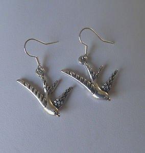Swallow BIRD  charm DROP earrings SILVER hooks PAIR boho