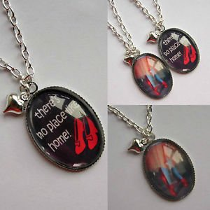 "dorothy theme oval glass pendant necklace 16"",18"" red shoes no place handmade"