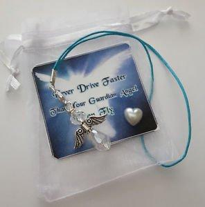 Crystal Glass Drivers Guardian Angel Charm LUCKY gift mirror CAR BAG KEY