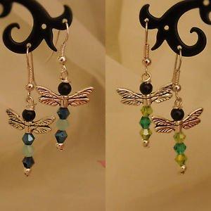 glass bead DRAGONFLY earrings SILVER PLATED blue green BOHO crystal HOOKS