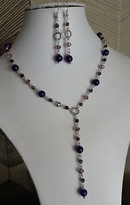 """AMYTHEST  glass bead necklace set earrings chain 18"""" purple EARRINGS"""
