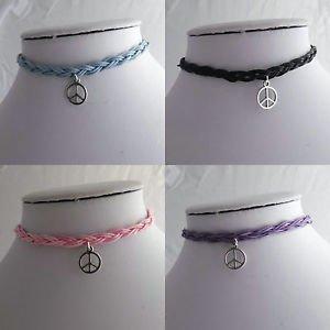 BRAIDED cord CHOKER necklace HIPPY bohemian style PEACE pendant CHARM