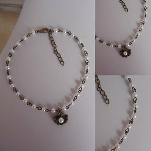 PEARL beaded ANKLE chain BRONZE glass OYSTER SHELL charm WHITE summer bridal