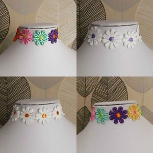 "FLOWER lace choker necklace multi coloured white 13"" floral BRIDAL festival BOHO"