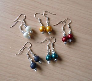 PEARL drop BEAD earrings silver plated white teal gold  blue GLASS 20mm crystal