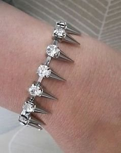 "SPIKE charm DIAMANTE stone set BRACELET chain SILVER 7""-8"" PUNK retro"