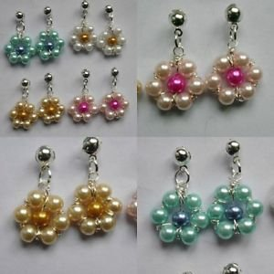 daisy FLOWER  earrings GLASS PEARL silver plated stud wire white pink blue
