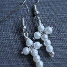 Pearl earrings CROSS silver plated  glass bead hook pink white blue BEADED