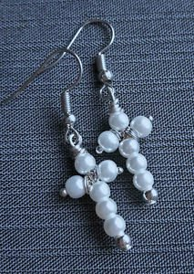 Pearl earrings CROSS silver plated  glass bead hook pink white blue BEADED
