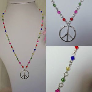 "Crystal  glass beaded CHAKRA shades PEACE logo necklace CHAIN 16""-20"""