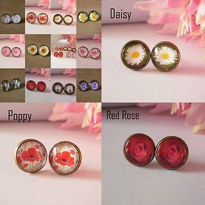 Bronze Glass Domed flower Earrings studs 12mm daisy poppy rose floral womens
