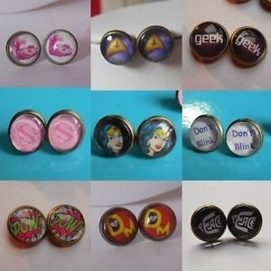 Bronze Glass Domed Retro Themes Earrings studs 12mm cartoon icons handmade
