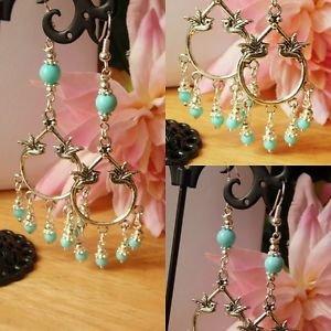 love BIRD chandelier EARRINGS 70mm BLUE bead glass BOHO silver plated hooks