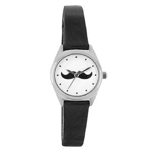 Portobello Road Ladies Watch moustache design gift BOXED black strap retro
