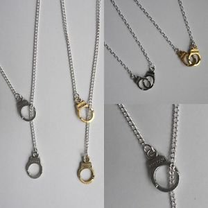 "Handcuff necklace chain charms silver plated 16""/18"" gold silver cuffs"