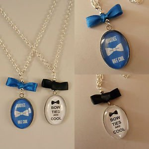 "Bow GLASS Oval pendant NECKLACE  FANDOM Quote Themed 17"" BOW TIES ARE COOL"