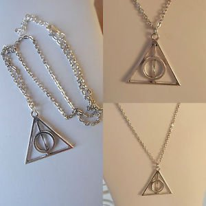 "Deathly hallows NECKLACE pendant CHAIN rhodium plated 16""-18"" GIFT POUCH"