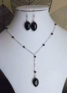 "Black Bead OVAL drop pendant necklace SET chain GLASS stone 18"" earrings"