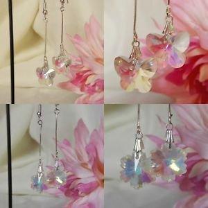 crystal GLASS butterfly flower earrings SILVER PLATED wire hooks 50mm STEM DROP