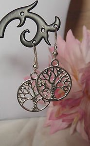 tree of life earrings dangle round 20mm silver plated hooks charms silver boho
