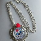 "Sugar SKULL pendant NECKLACE chain cabonchon GLASS 16""-18"" FILIGREE rose"