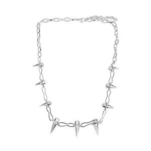 "spike DIAMANTE necklace chain SILVER 20"" CHAIN link CHARM GOTHIC punk RETRO"