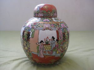 Antique Chinese porcelain jar hand painted with cover.