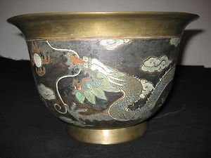 ANTIQUE CHINESE BRONZE BIG BOWL HAND PAINTED MING DYNASTY MARK