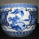 ANTIQUE HUGE CHINESE PORCELAIN BLUE AND WHITE PLANTER BOWL