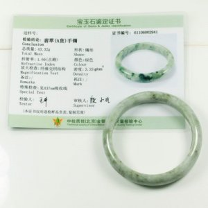 NATURAL 100% JADEITE BANGLE JADE WITH CERTIFICATE GRADE A - 58MM