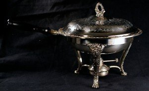 ANTIQUE SILVERPLATE 4 PIECES CHAFING DISH