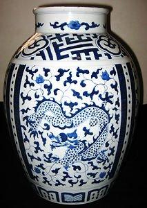 ANTIQUE HUGE CHINESE PORCELAIN DOUBLE DRAGONS & PHEONIX BLUE & WHITE VASE