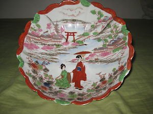 ANTIQUE JAPANESE  PORCELAIN  BOWL HAND PAINTED