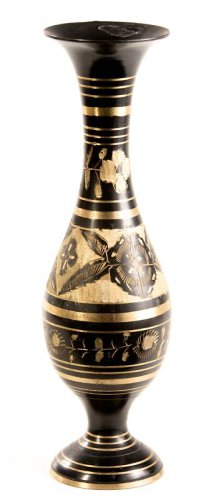 OLD SMALL INDIA HAND CARVED BRASS VASES