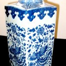 ANTIQUE CHINESE PORCELAIN LARGE SQUARE BLUE AND WHITE PHOENIX VASE