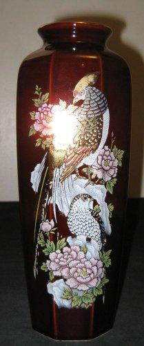Antique Rare Japanese Famille Rose Couple Phoenix Flowers Porcelain Vase, NR.