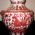 CHINESE HUGE BEAUTIFUL RARE UNDERGLAZE RED PORCELAIN KILIN POT- 19TH CENTURY